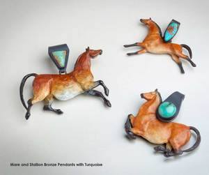 Hare and Stallion Bronze Pendants with Turquoise
